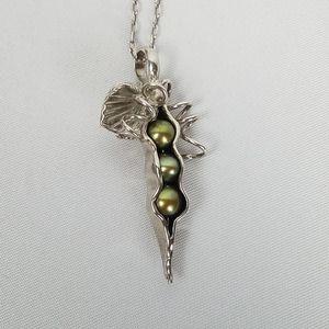 """925 Silver 3 peas in a pod pendant necklace 18"""""""